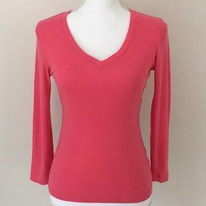 Club Monaco cotton v neck 3/4 sleeve shirt